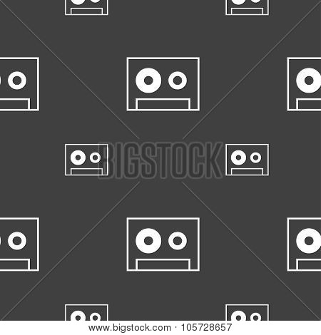 Cassette Sign Icon. Audiocassette Symbol. Seamless Pattern On A Gray Background. Vector