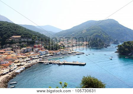 Picturesque coastal city of Parga Greece panoramic view with seascape