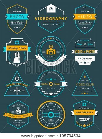 Vector Set Of Badges Photography And Videography