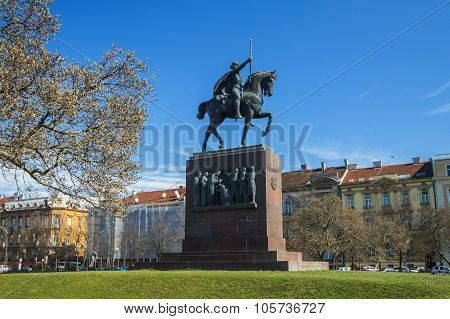 Equestrian statue of fist Croatian King Tomislav in Zagreb, Croatia.  Equestrian statue was installed in 1947 by skulptor Robert Franges Mihanovic poster