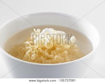 white wood ear fungus (also snow fungus or silver tree ear fungus). Eaten as Chinese medicine.