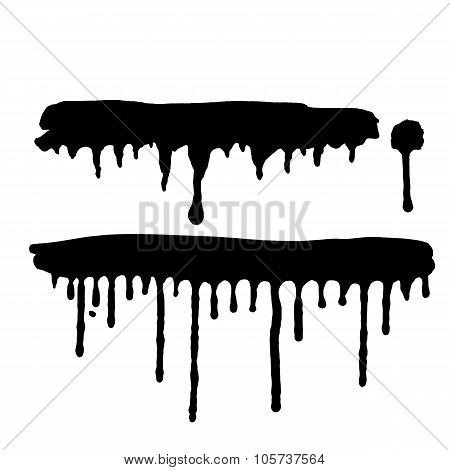 Black Dripping Paint Stains On White Background