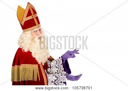 Sinterklaas with space for atribute . isolated on white background. Dutch character of St. Nicholas and Black Pete