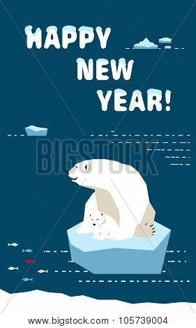 New Year Card With Polar Bears