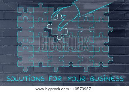 Hand Completing A Puzzle With The Missing Piece With Text Solution For Your Business