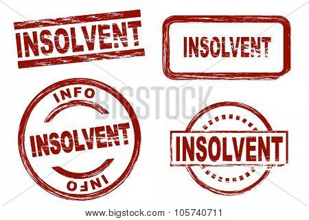 Set of stylized red stamps showing the term insolvent. All on white background.