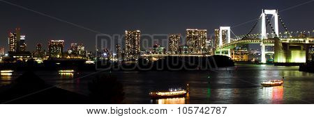 Nightscape Of The Bay Of  Tokyo, Japan