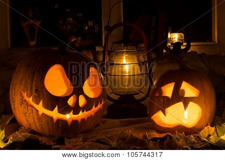 Photo Composition From Two Pumpkins On Halloween.