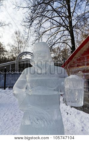 Exhibition Of Ice Sculptures: A Man With A Mug Of Beer, Came Out Of The Bath.
