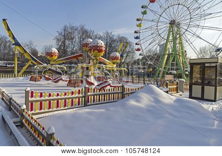 Snow-covered Attractions In Winter Park.