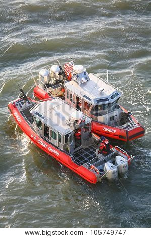 Two Us Coast Guard Powerboats In East River