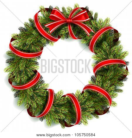 Christmas wreath with red ribbon and bow isolated on white. Vector illustration
