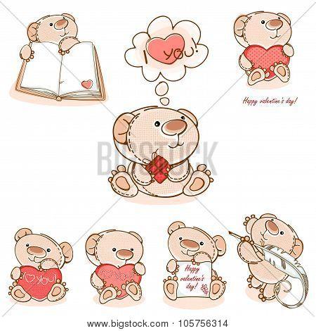 set valentine teddy bear