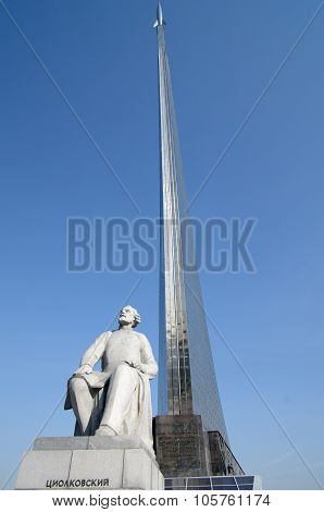 Monument To The Conquerors Of Space And Statue Of Konstantin Tsiolkovsky, The Precursor Of Astronaut