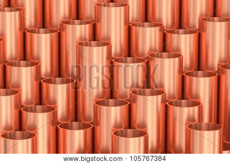Shiny Copper Pipes Industrial Background