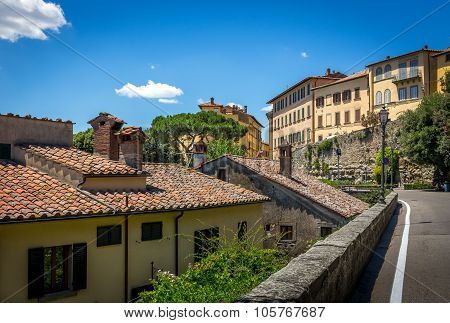 Street of Cortona a beautiful tuscan town in Italy poster