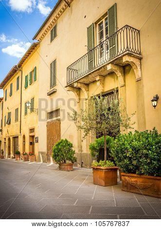Beautiful Street Of San Quirico Dorcia, Tuscany