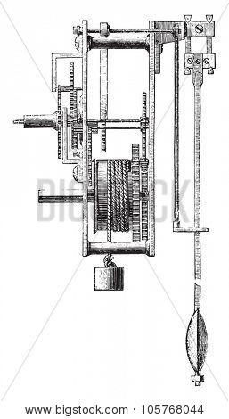 Method of regulating a balance wheel, vintage engraved illustration.