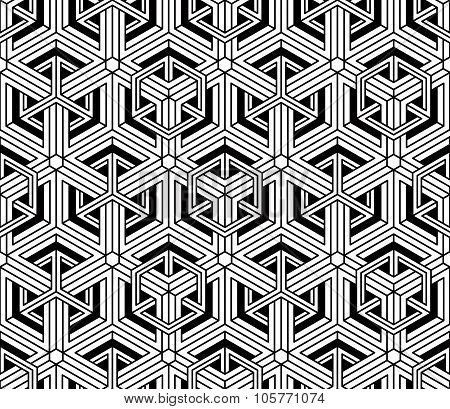 Contrast Black And White Symmetric Seamless Pattern With Interweave Figures. Continuous Geometric Co
