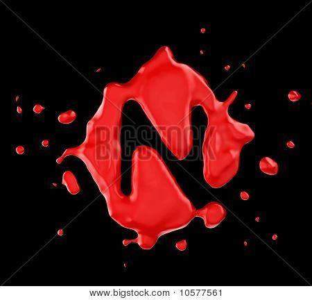 Red Blot N Letter Over Black Background