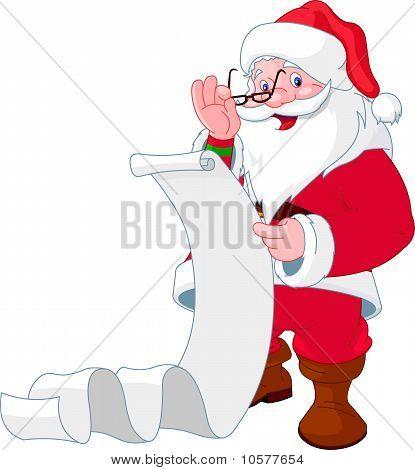 Santa Claus-Leseliste von Geschenken