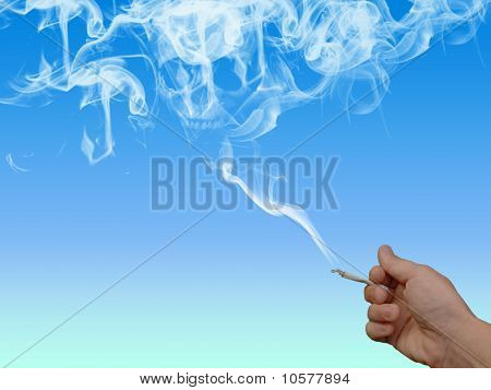 Nicotine Addict with Skull