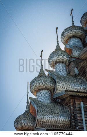 Carved Wooden Domes  In Kizhi, Karelia, Many Midges