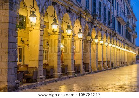 The historic center of Corfu town at night, Greece