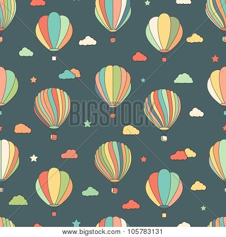 Seamless pattern with hot air balloons, stars, clouds