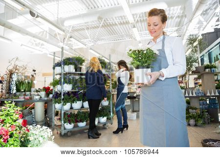 Mid adult salesgirl holding flower pot with customer and colleague in background at shop