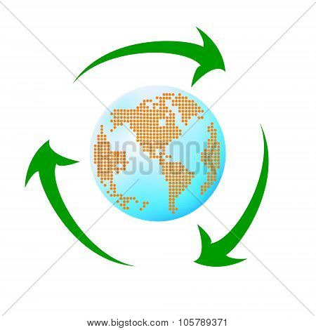 Recycling arrows with leafage and blue earth