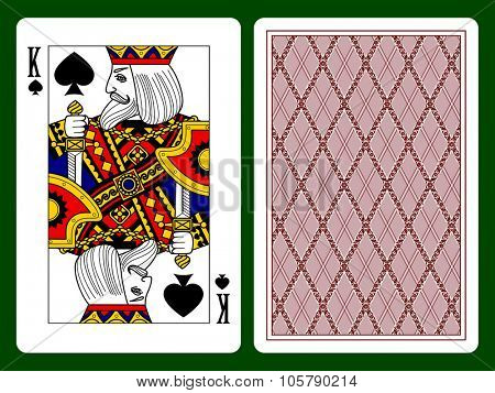 King of Spades playing card and the backside background. Faces double sized. Original design. Vector illustration poster