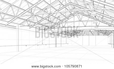 CAD construction model of a big warehouse (3D Rendering)