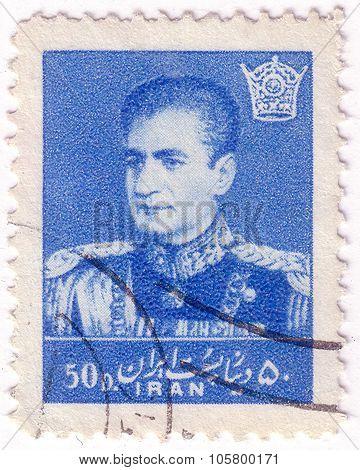 Iran - Circa 1957: A Stamp Printed In The Iran Shows Mohammad Reza Shah Pahlavi, Shah Of Persia, Cir