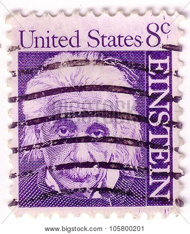 Usa - Circa 1965: A Stamp Printed In Usa Shows Image Portrait Albert Einstein (march 14, 1879 - Apri