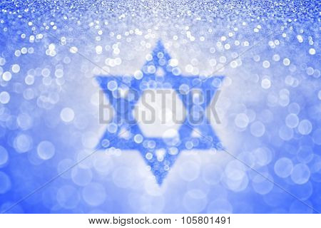 Abstract Hanukkah blue Jewish Star of David Background. Bar Mitzvah