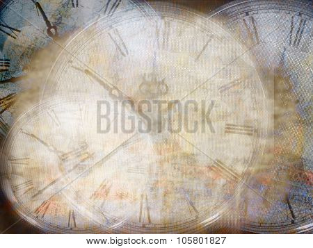 Grunge Background With Old Watch. Time