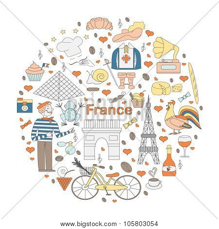 Set Of Thematic Elements Of France