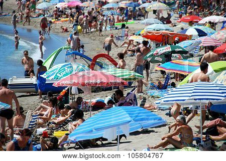 Crowded beach, Fuengirola.