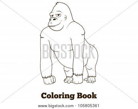 Gorilla cartoon coloring book vector illustration
