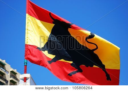 Spanish flag with a bull.