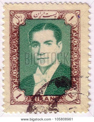 Iran - Circa 1939: A Stamp Printed In Iran Shows Image Of Mohammad Reza Shah Pahlavi, Shah Of Iran F
