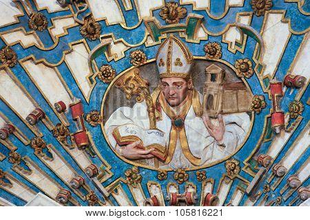 Bishop Sculpture In Burgos Cathedral, Spain
