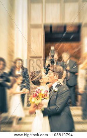 Couple Of Young Lovers Kissing During Wedding Cerimony - Concept Of Love In A Very Happy Life Moment