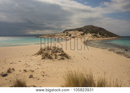 Image ofNarrow braid to the semi-island Simos beach Elafonisos Greece poster