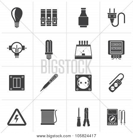 Black Electrical devices and equipment icons