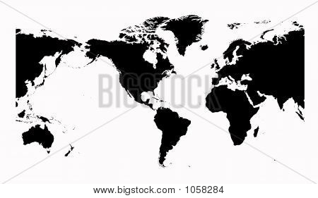 World Map Detailed. America Centered