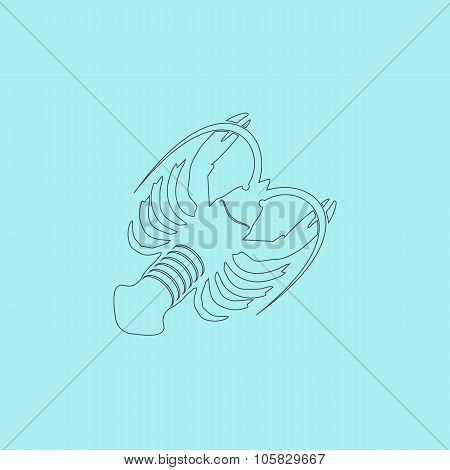 Crawfish. Simple outline flat vector icon isolated on blue background poster