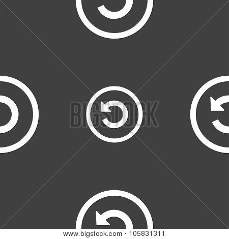 Upgrade, Arrow, Update Icon Sign. Seamless Pattern On A Gray Background. Vector