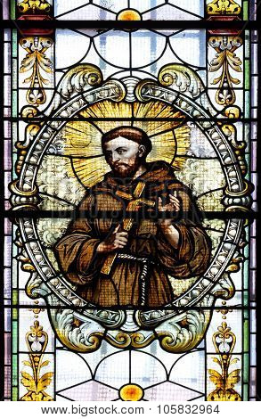 NOVO MESTO, SLOVENIA - JUNE 30: Saint Francis of Assisi, stained glass window in Cathedral of St Nicholas in Novo Mesto, Slovenia on June 30, 2015